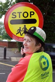 Sponsor | Lollipop lady funded by TalkTalk in Bedfordshire. (Image | The Sun)