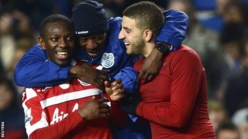 Relief | Adel Taarabt and goalscorer Shaun Wright-Phillips embrace following the 1-0 victory over Chelsea. (Image | BBC)