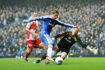 Battering | Fernando Torres put Rangers to the sword at Stamford Bridge. (Image | Daily Mirror)