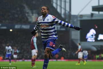 Sharp shooter | Loïc Rémy celebrates scoring his first goal for QPR at Upton Park. (Image | Daily Mail)
