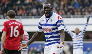 | Christopher Samba, signed for £12.5million in January, lets out his fury as Manchester United carve QPR open again. (Image | The Metro)