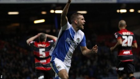 It's all Rover | Tommy Spurr celebrates putting Blackburn Rovers 2-0 up against Queens Park Rangers. (Image | BBC)