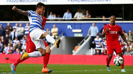 Vargas-powered | Eduardo Vargas equalises for Queens Park Rangers against Liverpool. (Image | Mail Online)