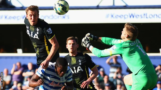 Kane in the head | Tottenham Hotspur striker Harry Kane outjumps Nedum Onuoha to beat Robert Green. (Image | BBC)