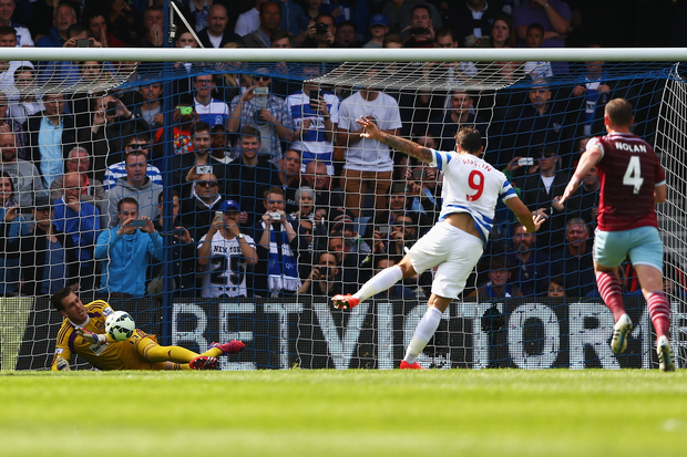 Charlie Austin sees his penalty saved by the West Ham United goalkeeper Adrián. (Image   Evening Standard)